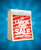Labor day sale design in form of calendar. Royalty Free Stock Photo