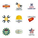 Labor day sale logo set, flat style. Labor day sale logo set. Flat set of 9 labor day sale vector logo for web design vector illustration