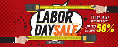 Labor Day Sale 50 Percent 6250x2500 pixel Banner. Stock Photography