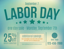 Labor Day Sale Postcard. Customizable Labor Day sale postcard advertisement royalty free illustration