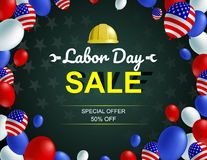 Labor day sale poster with specialist worker character. stock illustration