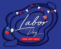 Labor day sale promotion advertising banner blue paper cut style Vector Illustration