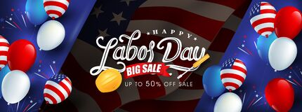 Free Labor Day Sale Promotion Advertising Banner Template.American Labor Day Wallpaper.voucher Discount. Royalty Free Stock Photo - 190930855