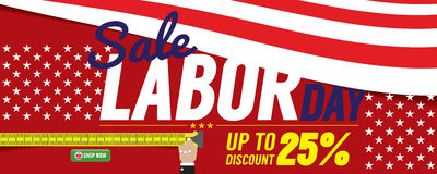Labor Day Sale 6250x2500 pixel Banner. Royalty Free Stock Photo