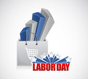 Labor day sales shopping bag illustration Royalty Free Stock Photo