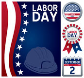 Labor Day Set. Collection for the USA Labor Day, a United States federal holiday observed every year on the first Monday of September, including a stars and stock illustration