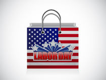 Labor day shopping bag sign illustration design Royalty Free Stock Image