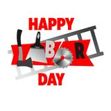 Labor Day Text, funny workers collect the word. Illustration stock illustration