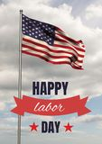 Labor day text over US flag Royalty Free Stock Images