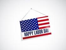 Labor day us hanging flag illustration Stock Image