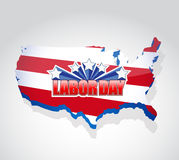 Labor day us map sign illustration design. Graphic vector illustration