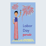 Labor Day Vector Design. A man on stilts dressed in the colors of the American flag. A screwdriver is in his hands. Fireworks dedicated to the parade. Usable Stock Photos