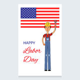 Labor Day Vector Design. A man in a working overall and a helmet on his head. Holds a screwdriver in the hands of the US Stock Photos