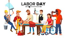 Labor Day Vector. People Occupation Difference. Modern Jobs. Isolated Cartoon Illustration Royalty Free Stock Photos