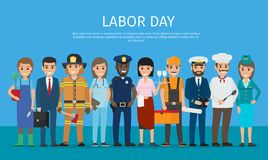Labor Day Worker on Blue Cartoon Drawing. Labor day vector poster of policeman and lifesaver, sailor and cook, stewardess and doctor, manager with briefcase vector illustration