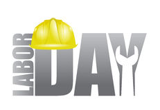 Labor day workers helmet and wrench  Royalty Free Stock Photos