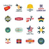 Labor Day workers logotype icons set, flat style stock illustration