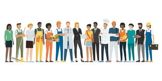 Labor day: workers posing together and standing vector illustration
