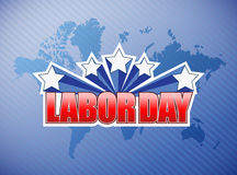 Labor day world map sign illustration Royalty Free Stock Images