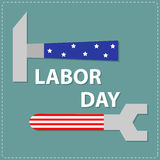 Labor day Wrench key and hammer with star  stip Flat design Royalty Free Stock Photo