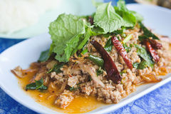 Labor, Ente zerkleinern mit würzigem Geschmack, thailändisches Lebensmittel Lizenzfreie Stockfotos