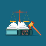 Labor Law books with a judges gavel in flat style. Stock Image