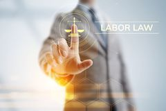 Labor law, Lawyer, Attorney at law, Legal advice business concept on screen. Labor law, Lawyer, Attorney at law, Legal advice business concept on screen royalty free stock images