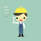 Labor man on labor day. This man is labor who hold wrench and text happy labor day on blue background Royalty Free Stock Photo