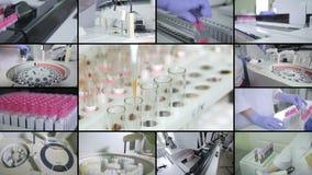 Labor, medizinische moderne Ausrüstungsfunktion MEDIZINISCHES Konzept Multiscreen-Montage stock footage