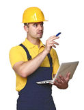 Labor with netbook on white stock photo
