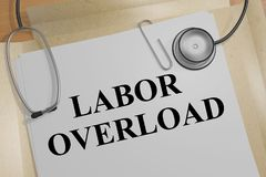 LABOR OVERLOAD concept. 3D illustration of LABOR OVERLOAD title on a medical document Royalty Free Stock Photos