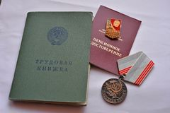 Russian labor register logbook Stock Photo