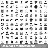 100 labor resources icons set, simple style Royalty Free Stock Images