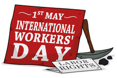 Labor Rights Reminder in Workers' Day, Vector Illustration. Red sign and reminder of labor rights close to a pick axe and coals in 1st May, International Workers Stock Images