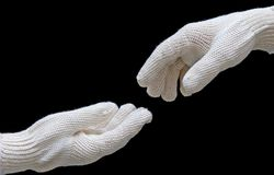 Labor's hands in safety gloves conection. Stock Image