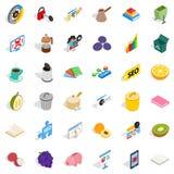 Labor task icons set, isometric style. Labor task icons set. Isometric set of 36 labor task vector icons for web isolated on white background stock illustration