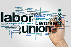 Labor union word cloud. Concept on grey background royalty free stock photo