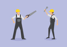Labor Workers with Tools Vector Cartoon Illustration Royalty Free Stock Photos