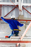 Labor working in construction site for roof prepare Royalty Free Stock Image