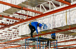 Labor working in construction site for roof prepare Stock Photo
