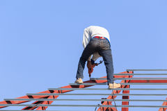 Labor working in construction site for roof prepare Royalty Free Stock Images