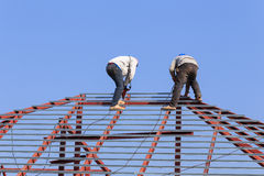 Labor working in construction site for roof prepare Royalty Free Stock Photo