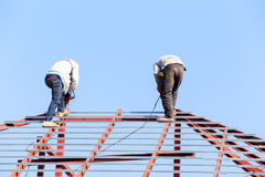 Labor working in construction site for roof prepare Royalty Free Stock Photos