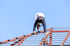 Labor working in construction site for roof prepare Stock Photography