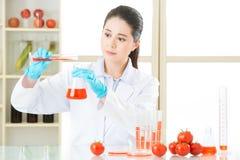 Laboranalyse des Lebensmittels des Apfels GVO für Test lizenzfreies stockbild