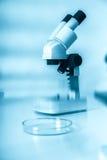 Laborancki mikroskopu obiektyw Nowożytni mikroskopy w lab obrazy royalty free