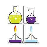 Laborancki palnik i kolba ilustracja wektor