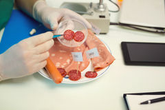 Laborancki testowanie leczący mięśni produkty obrazy stock