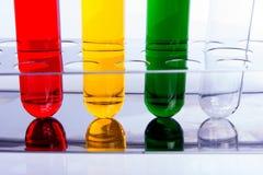 Laboranckie próbne tubki na białym tle Fotografia Stock