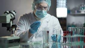 Laboranckiego pracownika cyrklowania dokładna formuła hypoallergenic kosmetyczni produkty zdjęcie wideo